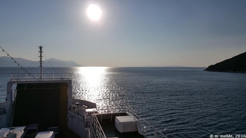 Auf der Fähre nach Peljesac, Blick in die untergehende Sonne