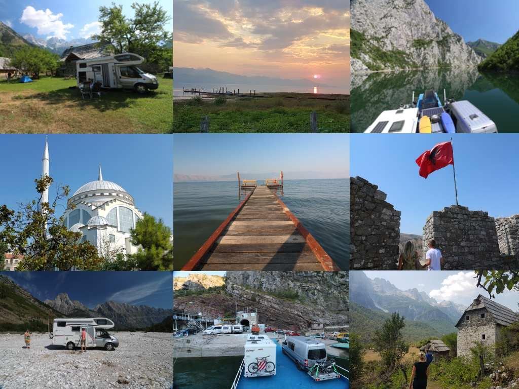 Collage verschiedener Bilder aus Albanien